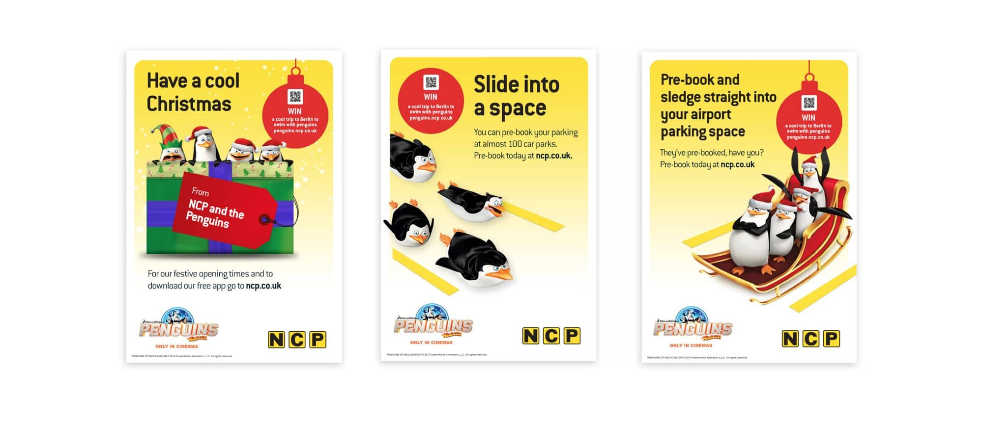 NCP penguin Christmas marketing materials