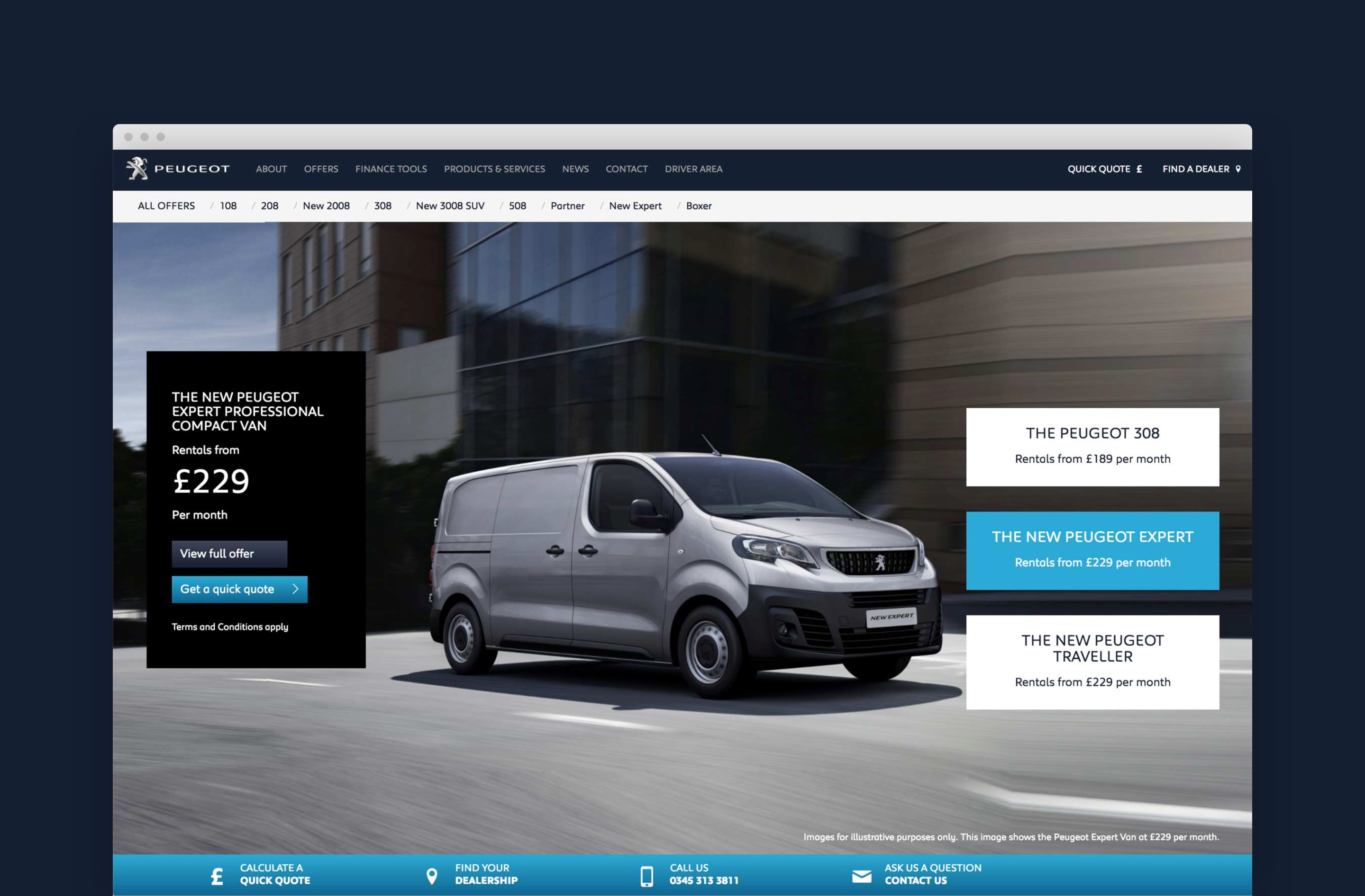 Creating a clean and attractive website design for Peugeot